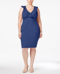 Love Squared Trendy Plus Size Ruffled Bodycon Dress Electric Blue