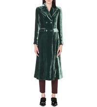 Etro Double Breasted Crushed Velvet Coat Teal