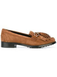 Tod's Tasseled Loafers Women Calf Leather Calf Suede Rubber 38 Brown