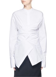 Ports 1961 Mandarin Collar Cotton Poplin Wrap Shirt White