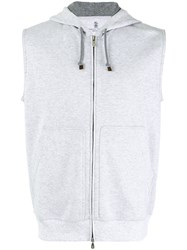 Brunello Cucinelli Zip Up Sleeveless Hoodie Grey
