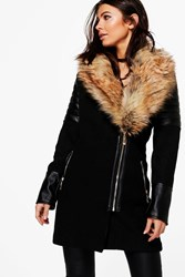 Boohoo Lara Faux Fur Collar Coat Black