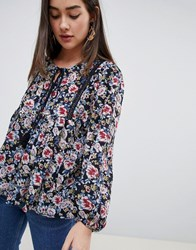 Qed London Floral Smock Top With Tassle Navy