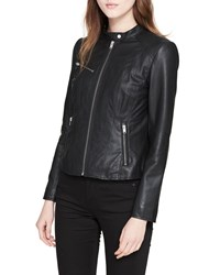 Marc New York Classic Stand Collar Leather Moto Jacket Black