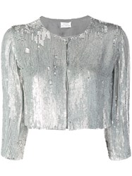 P.A.R.O.S.H. Sequin Cropped Jacket Silver