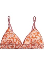 Love Stories Satin Trimmed Printed Stretch Jersey Soft Cup Triangle Bra Papaya