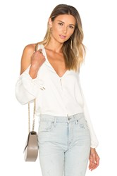 L'academie The V Neck Shoulder Blouse White