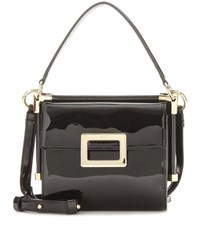 Roger Vivier Miss Viv' Carre' Mini Patent Leather Shoulder Bag Black