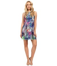 Aidan Mattox Sleeveless Printed Mesh Party Dress Blue Multi Women's Dress