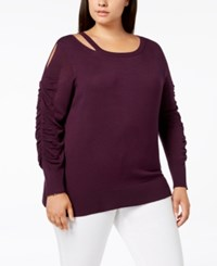 Love Scarlett Plus Size Cutout Ruched Sleeve Sweater African Violet