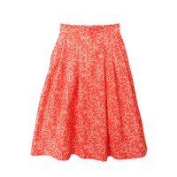 Etrala London Coral Pleated Midi Skirt Red