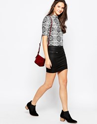 Pieces Mini Skirt With Zips Black