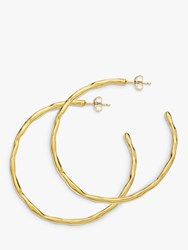 Dower And Hall Large Ripple Hoop Earrings Gold