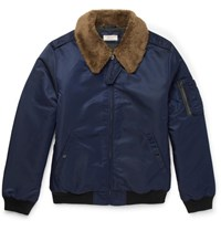 J.Crew Slim Fit Nylon Twill Bomber Jacket Blue