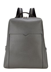 Valextra Slate Grey Soft Grained Leather Backpack Dark Grey