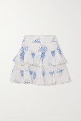 Loveshackfancy Bliss Tiered Printed Broderie Anglaise Cotton Voile Mini Skirt Blue