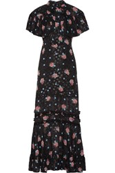 Anna Sui Ruffle Trimmed Printed Fil Coupe Silk Blend Maxi Dress Black