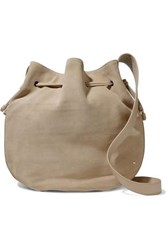 Halston Pebbled Leather Trimmed Suede Bucket Bag Beige