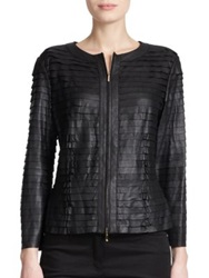 Escada Leather Tiered Jacket Black