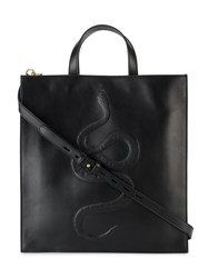 Gucci Snake Embossed Tote Men Leather One Size Black