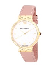 Bruno Magli Round Goldtone Stainless Steel And Leather Strap Watch