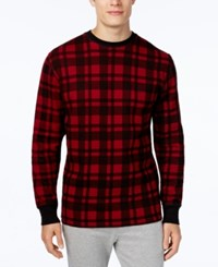 Polo Ralph Lauren Men's Waffle Knit Plaid Long Sleeve Sleep Shirt Red Plaid