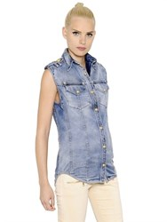 Balmain Sleeveless Washed Cotton Denim Shirt