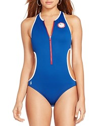 Polo Ralph Lauren Team Usa Zip Front Cutout One Piece Swimsuit Indigo
