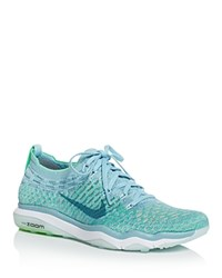 Nike Women's Air Zoom Fearless Flyknit Lace Up Sneakers Mica Blue Smoke Blue Electro Green