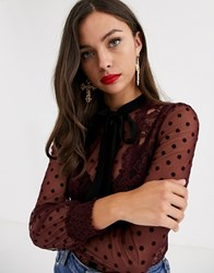 Morgan Dotty Lace Trim Sheer Blouse With Contrast Tie Detail In Berry Red