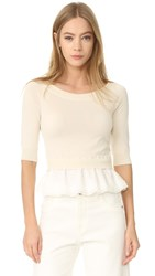 Boutique Moschino Boat Neck Top Ivory