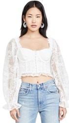 For Love And Lemons Cheyenne Lace Bustier Top Ivory Lace