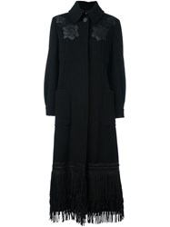 Antonio Marras Embroidered Fringed Coat Black