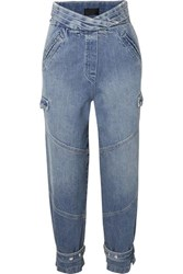 Rta Dallas Cropped High Rise Tapered Jeans Mid Denim