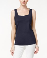 Karen Scott Square Neck Tank Top Only At Macy's Intrepid Blue