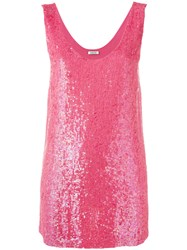 P.A.R.O.S.H. Sequin Tank Top Pink Purple