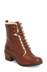 Lucky Brand Women's Cambreen Faux Fur Boot Toffee Leather