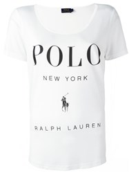 Polo Ralph Lauren Deep Neck Logo T Shirt White