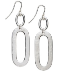 Alfani Silver Tone Hammered Large Double Drop Earrings