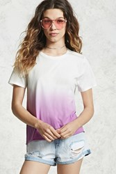 Forever 21 Ombre Dye Boxy Tee Pink White