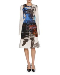 Marni X Sally Smart Long Sleeve Cotton Dress Blue White Black