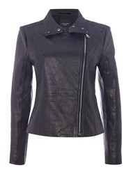 Max Mara Angizia Zip Up Leather Jacket Black