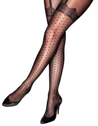 Pretty Polly Plus Curves Mock Spot And Lace Suspender Tights Black