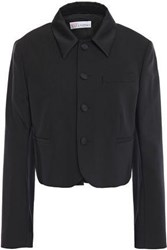 Red Valentino Redvalentino Woman Cropped Satin Trimmed Stretch Wool Jacket Black