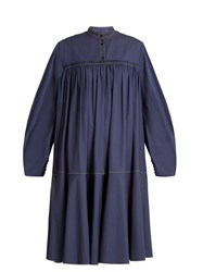 Roksanda Ilincic Soraya Gathered Cotton Sateen Dress Blue