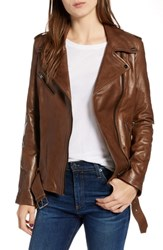 Lamarque Belted Leather Biker Jacket Dark Sand