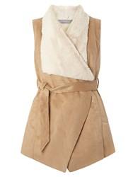 Dorothy Perkins Belted Faux Shearling Gilet White
