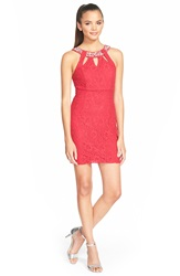 As U Wish Embellished Lace Body Con Dress Red