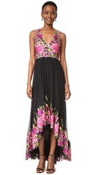Marchesa High Low Gown With Floral Embroidery Magenta