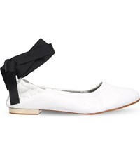 Kg By Kurt Geiger Kitty Leather Ribbon Detail Ballerina Flats White